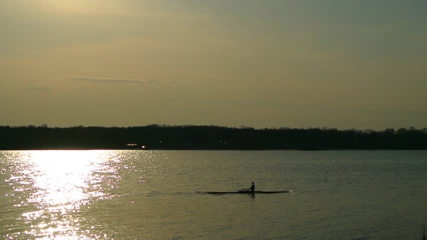 Rowing. at sunset