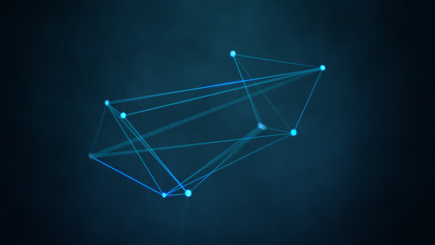 Abstract technology background. Blue glowing geometric shape moving with particles. Network connection concept | Shutterstock HD Video #6096035