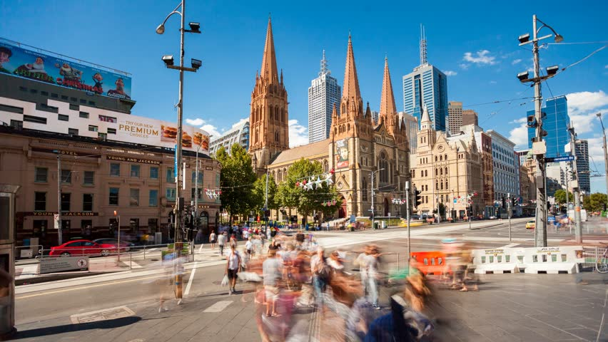 MELBOURNE - JAN 18, Timelapse view of the Melbourne inner city at daytime centered on Federation Square, 18 January 2012 in Melbourne, Australia