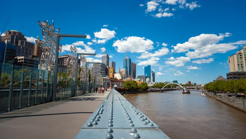 MELBOURNE - JAN 18, Timelapse view of the Melbourne inner city at daytime centered on the Yarra River, 18 January 2012 in Melbourne, Australia
