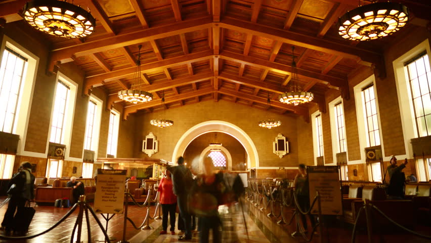 4K Time Lapse of Historic Union Station in Los Angeles with Commuters in Motion Blur -Zoom In-
