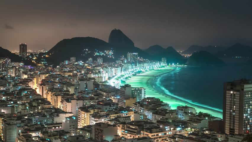 Nighttime time-lapse of Rio de Janeiro from a favela area.