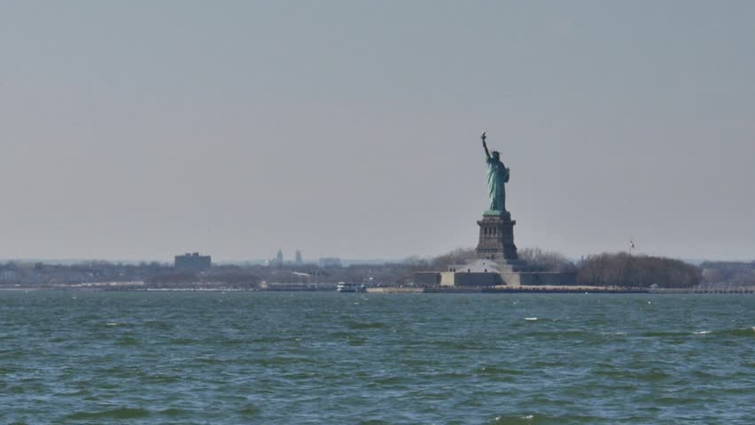 New York - March, 2014 - Statue of Liberty shot from Redhook Park.