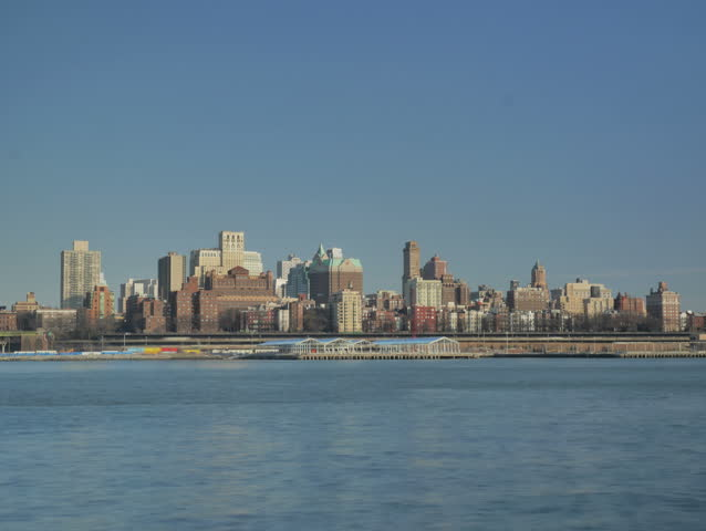 New York - March, 2014 - Time lapse of the Brooklyn skyline in the afternoon.