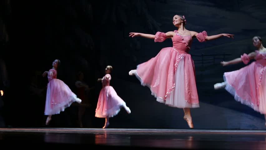 MOSCOW, RUSSIA - DEC 29, 2012: Flowers waltz scene during Christmas fantasy ballet The Nutcracker on stage in Barvikha Luxury Village.