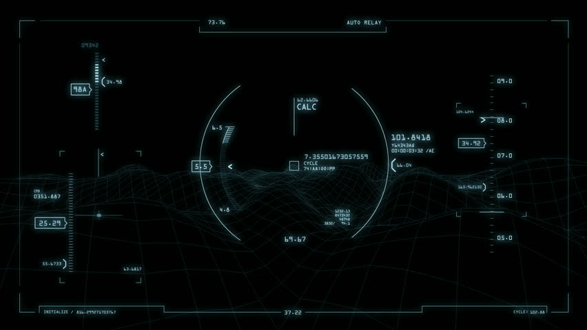 Futuristic heads-up display interface animation which can be used on a computer screen or in a cockpit. (Loop)
