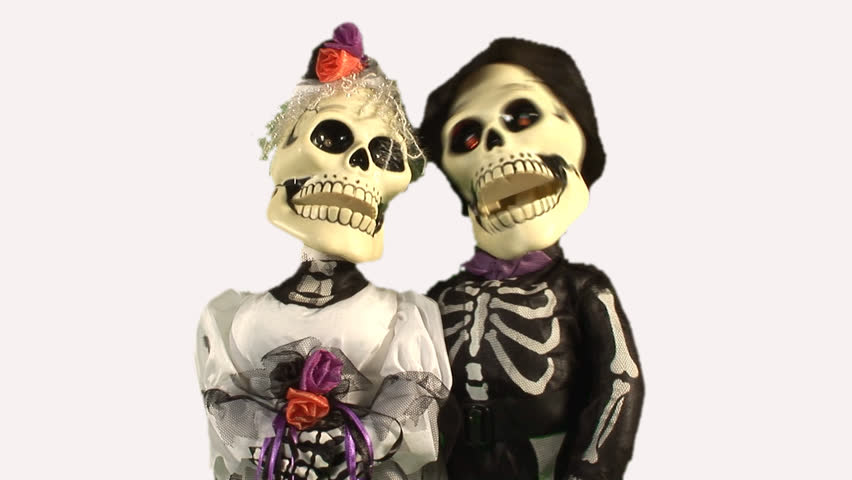 HD alpha layer animated skeletons in wedding costumes