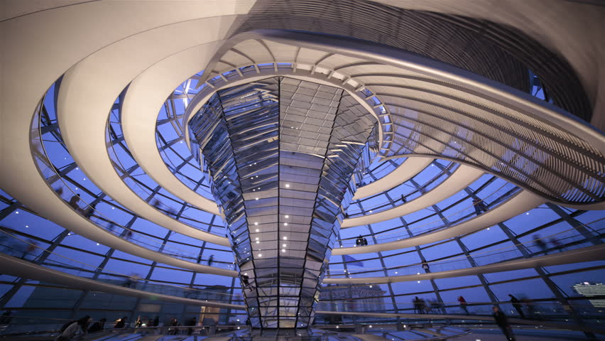 Modern Architecture Videos berlin - april 2014: tourists walk down the spiral walkway of the