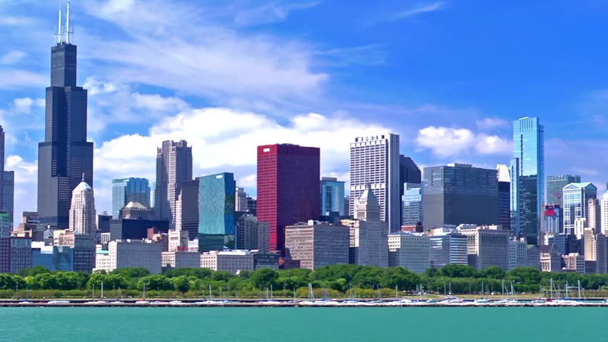 Chicago Skyline On A Beautiful Stock Footage Video (100