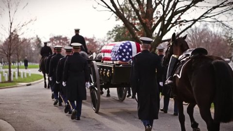 Military funeral of marching soldiers with horse drawn hearse in slow motion - 3 clips