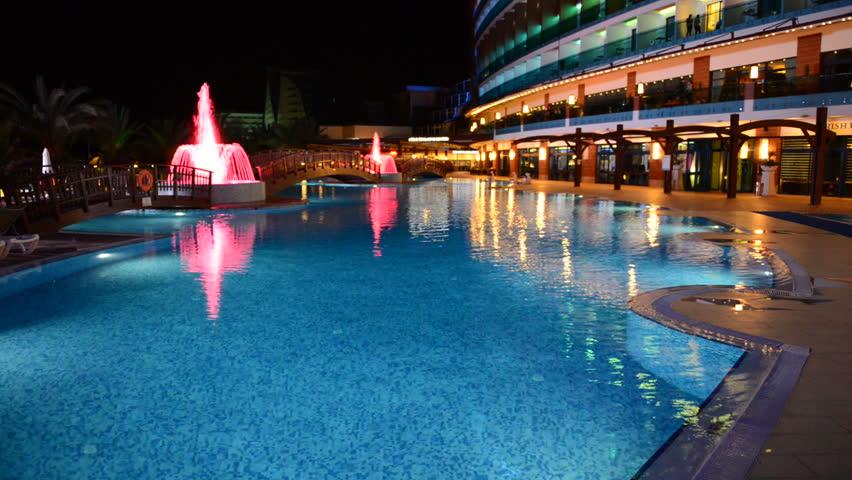 The Swimming Pool With Fountains In Night Illumination At Luxury Hotel Antalya Turkey