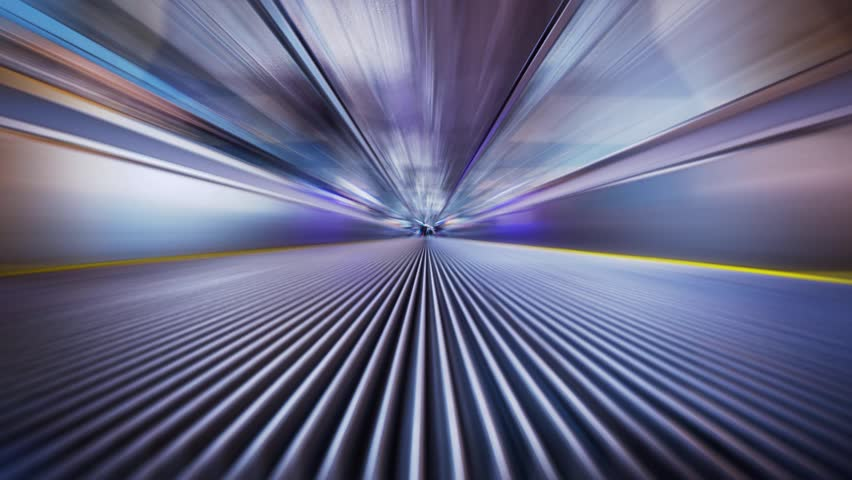 Futuristic industrial tunnel zoom, blurred motion abstract background