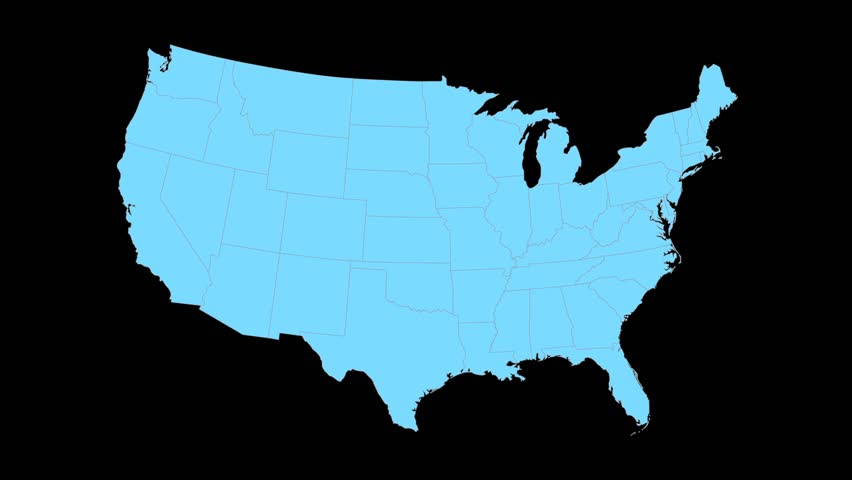 Ohio Animated Map Video Starts With Light Blue Usa National Map With State Border Lines