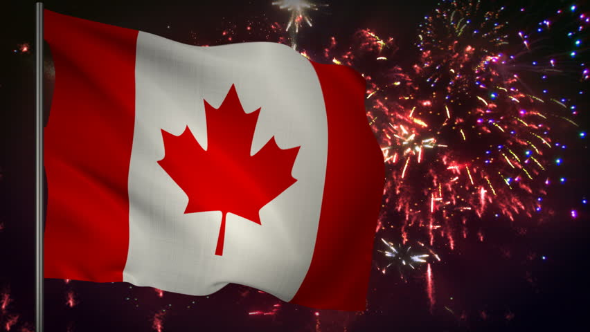 Flag of Canada with spectacular fireworks display in the background