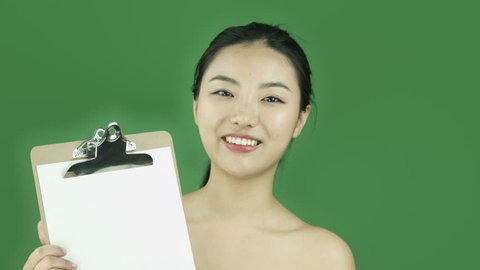 Asian girl naked beauty young adult isolated greenscreen green background blank sign