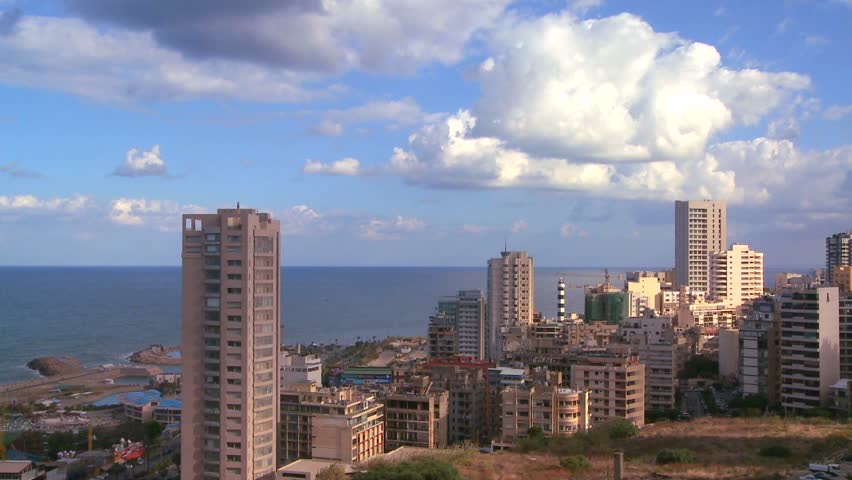 BEIRUT, LEBANON CIRCA 2013 - A time lapse of the skyline over Beirut, Lebanon.