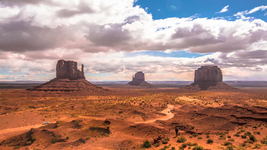 Iconic native structures of Monument Valley, Arizona in beautiful blue sky clouds timelapse.     Shutterstock HD Video #6268805