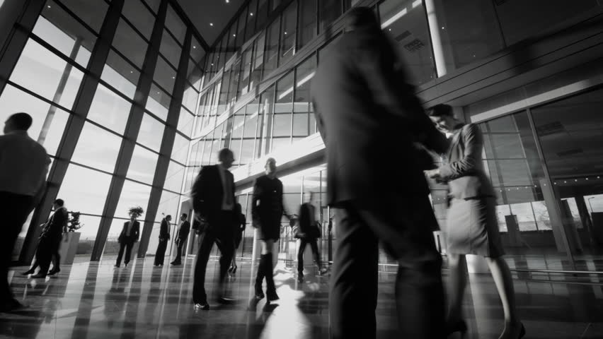 Time lapse of diverse business group in a large modern corporate building | Shutterstock HD Video #6283514