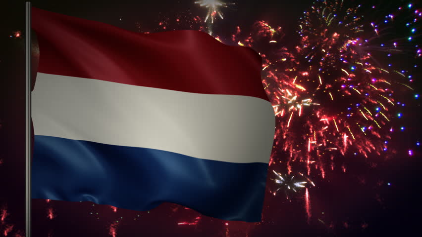 Flag of Netherlands with spectacular fireworks display in the background
