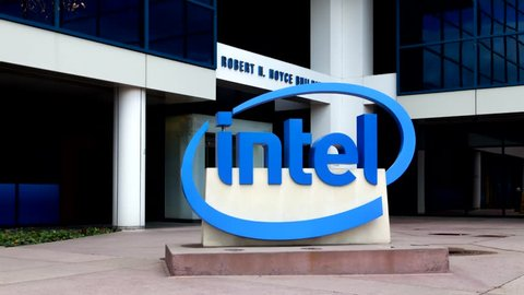 SANTA CLARA, CA/USA - MARCH 1, 2014: Intel Sign at Corporate Headquarters. Intel is a multinational corporation and inventor of the x86 microprocessor, the processors found in personal computers.