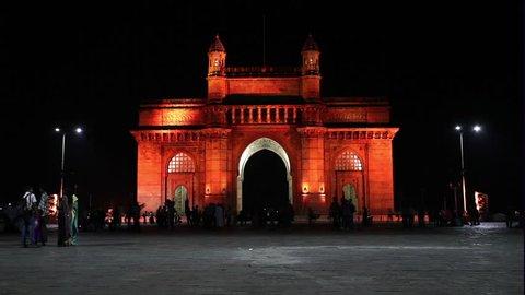 MUMBAI, INDIA - FEBRUARY 27: Gateway of India timelapse on February 27, 2014, Mumbai, India