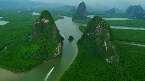 Aerial view Phang Nga Bay Marine National Park protected and of international ecological significance wetlands forestation, Thailand, RED EPIC