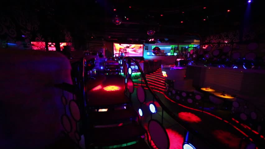 Empty Night Club Illuminated With Flashing Lights Stock