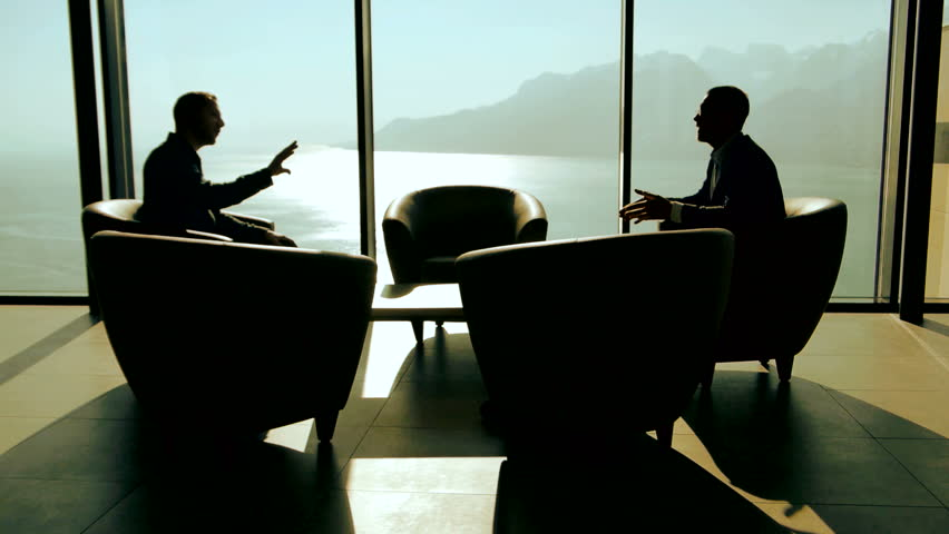 Modern Glass Meeting Room Business Businessman Conversation Discussion Talking Silhouette