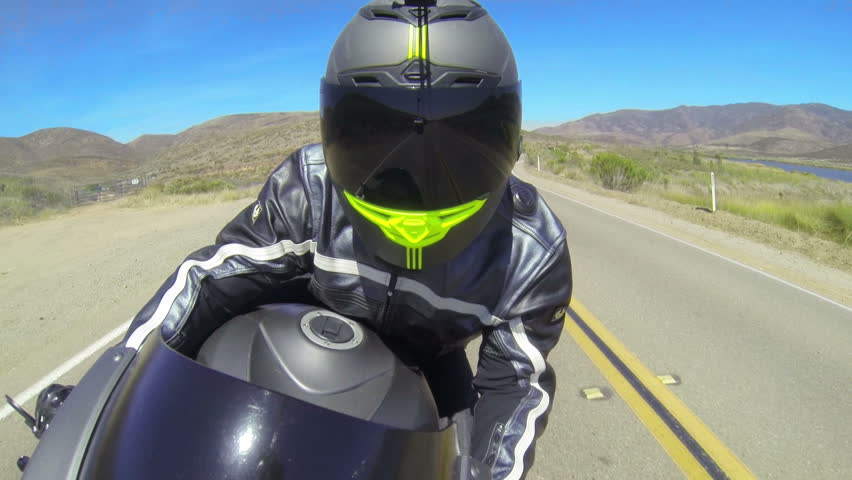 POV Man Riding Motorcycle On Country Road