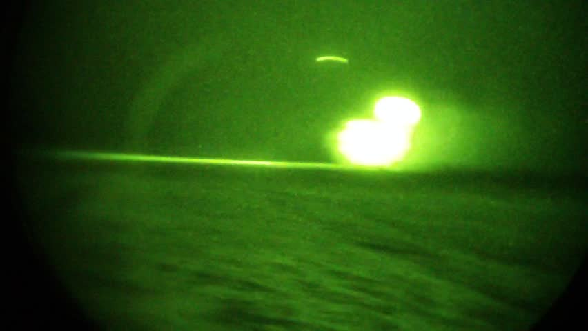 Night Vision: rotors from special ops helicopter glow in night vision goggles