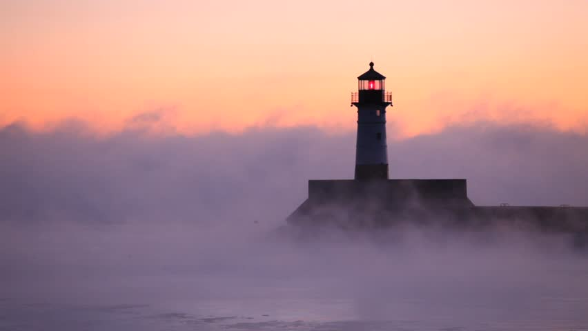 Winter morning view of lighthouse in Duluth, Minnesota.