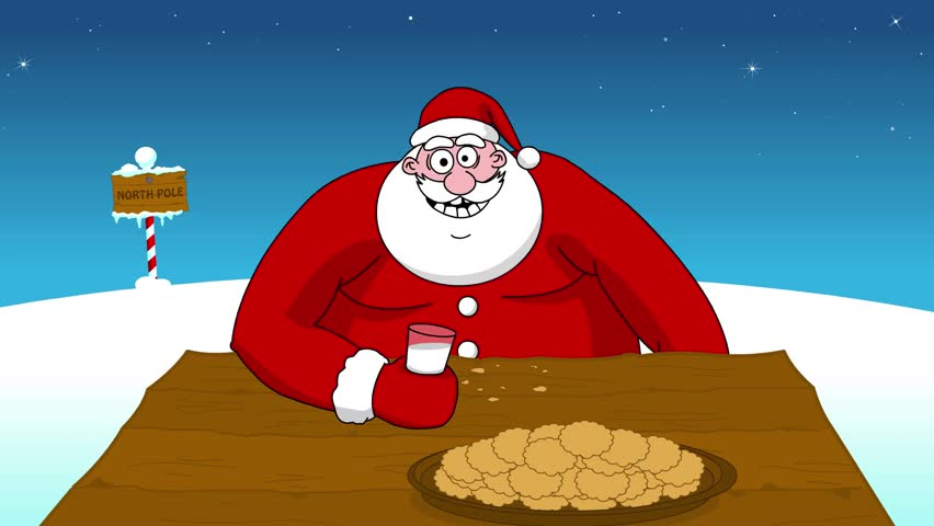 Big Fat Santa Claus Eating Cookies And Drinking Milk