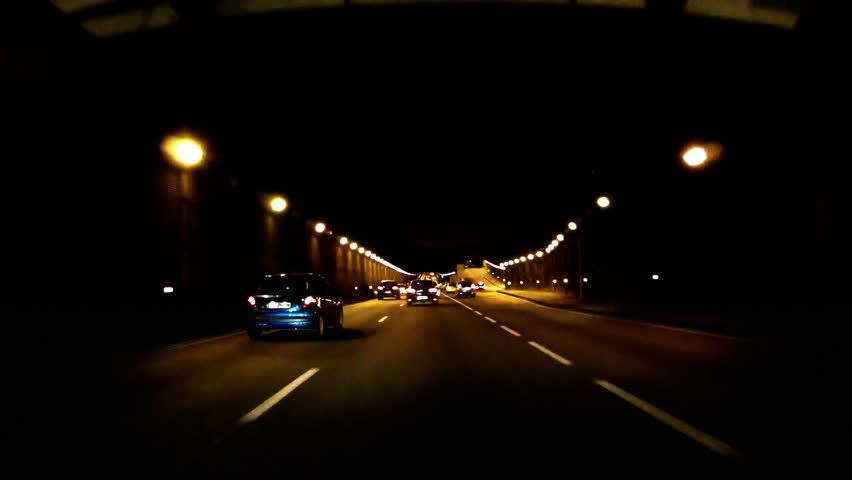 Night Car Trip on a tunnel in Paris peripheral beltway