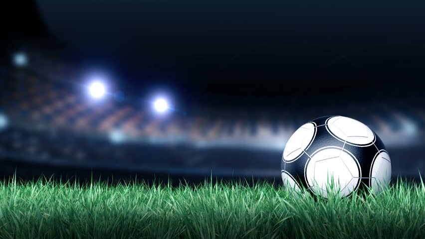 Soccer ball  on grass field in stadium background , for use in motion graphic intro ,title  HD with alpha channel  | Shutterstock HD Video #6438944