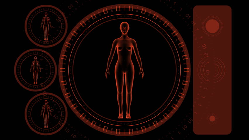 Woman Scan Screen - Hi-tech 09 (HD) - 3D animation. Medical, scientific, sci-fi, crime or hi-tech background. Screen with spinning woman body and rings. Alpha included. Loop.