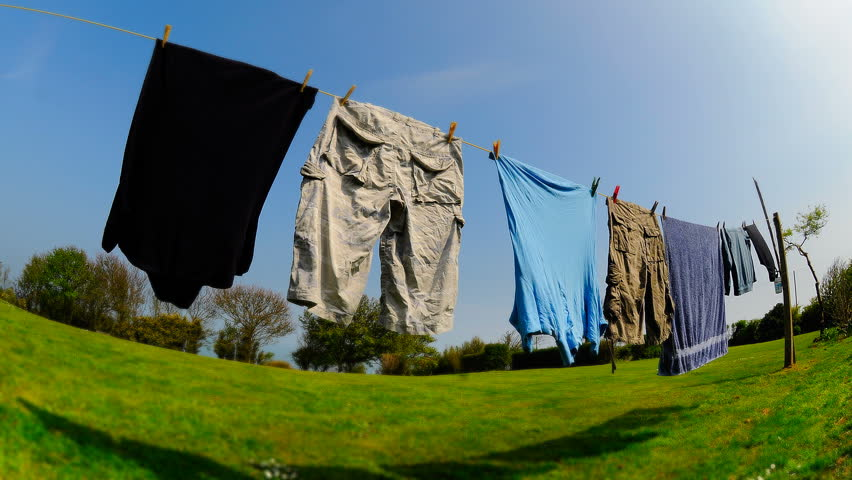 Stock video of clothes drying on washing line