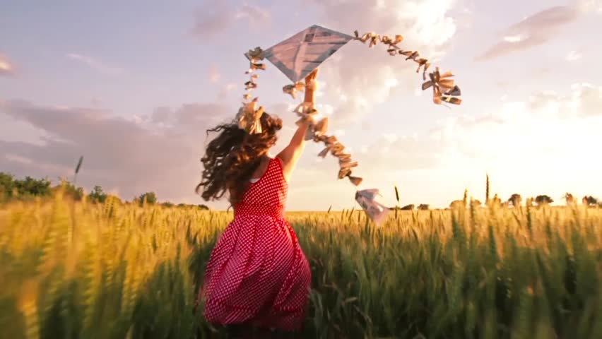 Beautiful Woman Red Summer Dress Running Kite Sunset | Shutterstock HD Video #6532763