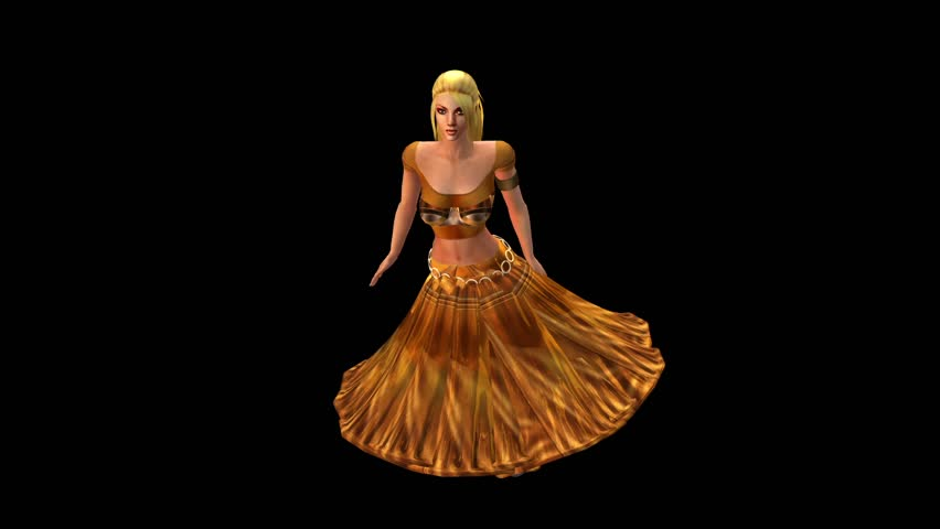 dancer dancing merrily on dance floor.dress&gold skirt with colorful stage light. cg_01085