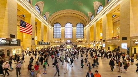 NEW YORK CITY - JUNE 11: Interior of Grand Central Station on Junw 11, 2014 in New York City, NY. The terminal is the largest train station in the world by number of platforms having 44. Time Lapse.