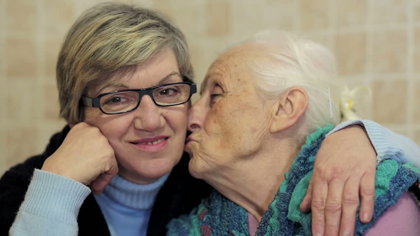 daughter embrace her mother: old, ancient, aged, alone, two, women