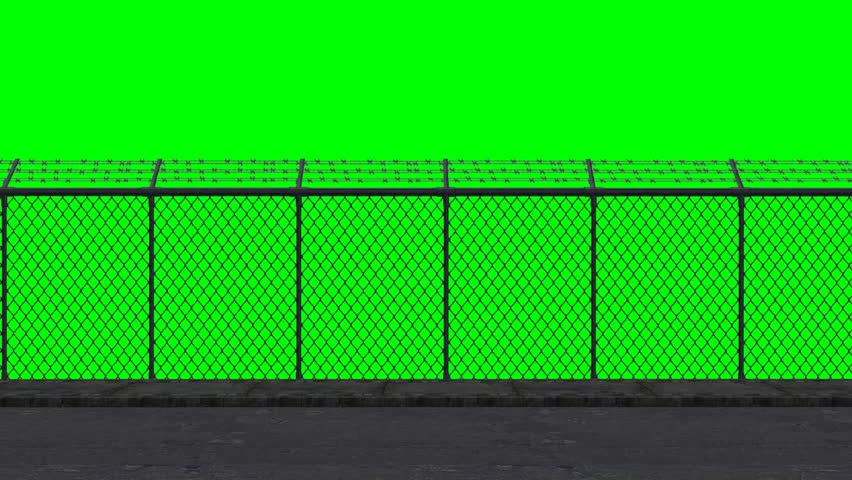 Ride along the security fence - green screen  | Shutterstock HD Video #6575135