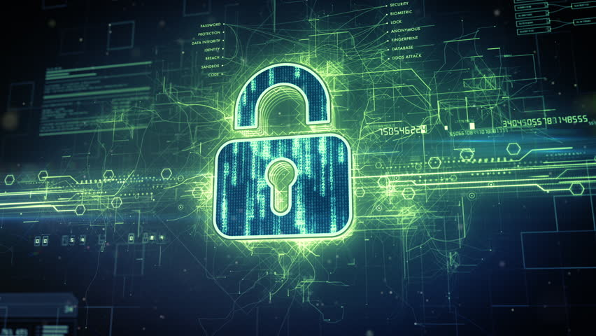 Abstract animation of a digital padlock in cyber space