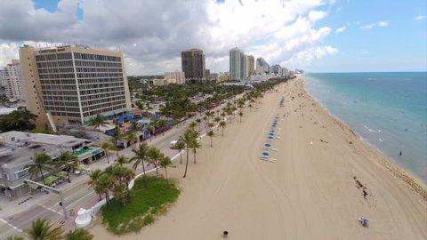 Aerial video of Fort Lauderdale Beach Florida