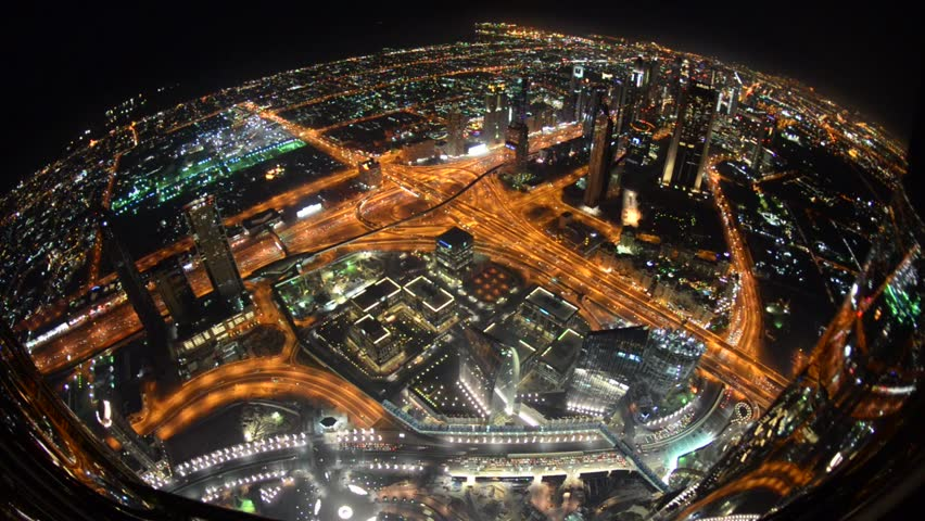 Highway traffic night view from Burj Khalifa skyscraper. Dubai, UAE. | Shutterstock HD Video #6658925