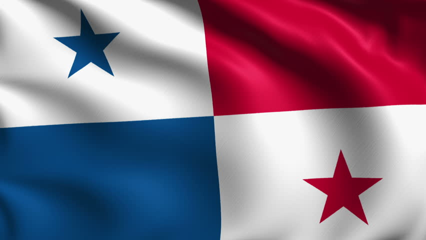 Flag Of Panama With Fabric Structure Looping Stock Footage Video - Panama flag