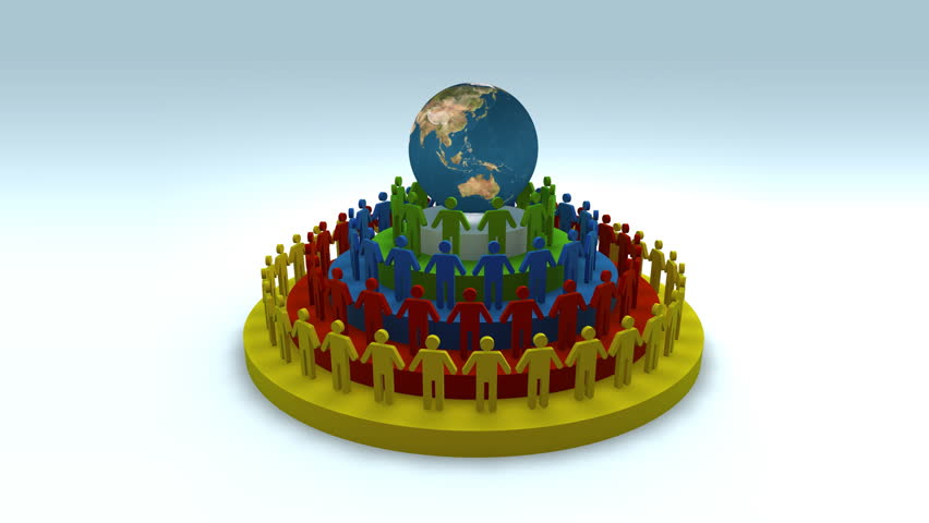 Colorful people standing on podium around planet earth / http://visibleearth.nasa.gov/ The planet texture used courtesy of Nasa - 1080p