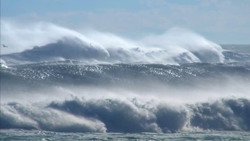 Ocean waves storm sea spray sea birds | Shutterstock HD Video #6693704