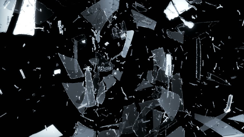 4K smashed and Shattered glass with slow motion. Alpha