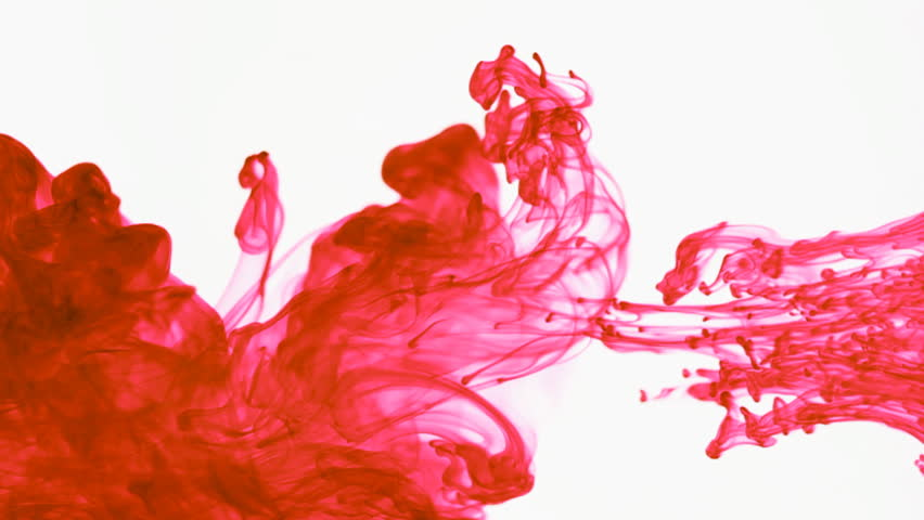 Red Colored Ink Dropped Into Water, Shot At 60fps And Slowed to 30fps In Post. Shot With A Canon 7D