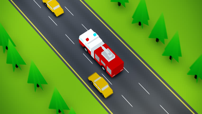 Elevated View Of Fire Truck On Busy Road | Shutterstock HD Video #6731635
